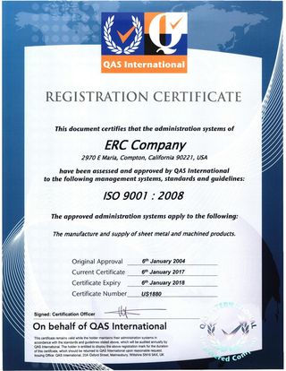 ISO 9001 : 2008 Registration Certificate